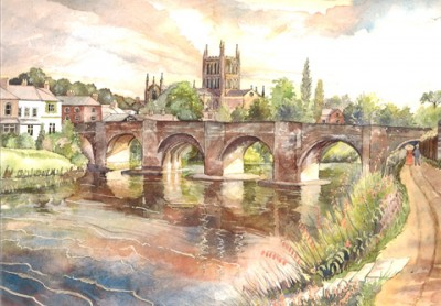 Barbara Graham Art - Hereford Old Wye Bridge & Cathedral